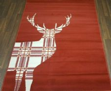 NEW X Approx 8FTx5FT 160cm x 230cm STUNNING Red Top Quality Checked Stag Design